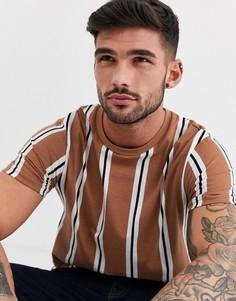 Футболка карамельного цвета в вертикальную полоску Burton Menswear-Коричневый