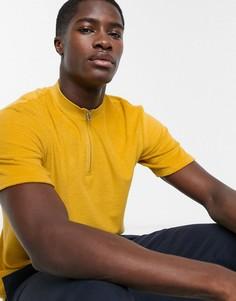 Желтое поло с воротником на молнии Selected Homme-Желтый