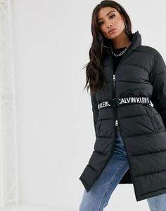 Длинная дутая куртка с поясом Calvin Klein Jeans-Черный
