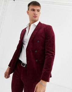 Бордовый вельветовый пиджак супероблегающего кроя Topman-Красный