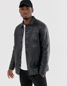 Кожаная куртка Barneys Originals-Черный