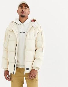 Светло-бежевая дутая куртка с капюшоном Sixth June-Светло-бежевый