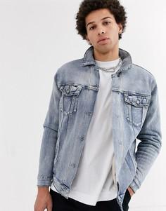 Джинсовая куртка с отделкой из искусственного меха Sixth June-Светло-бежевый