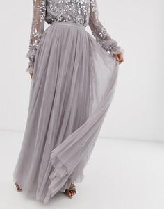 Серая тюлевая юбка макси в горошек Needle & Thread-Серый