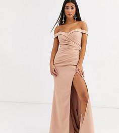 Кремовое платье макси с широким вырезом в форме сердца Jarlo Petite-Золотой