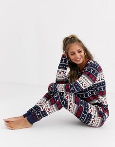 Пижамный комплект с принтом Фэйр-Айл Chelsea Peers Christmas-Темно-синий