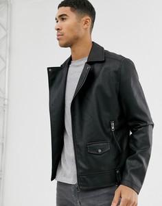 Черная байкерская куртка из искусственной кожи New Look-Черный