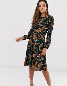 Платье миди в клетку тартан, с длинными рукавами и принтом пейсли AX Paris-Мульти