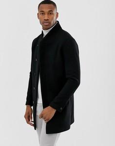 Черное премиум-пальто с добавлением шерсти и воротником-стойкой Jack & Jones-Черный