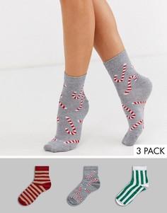 Набор из 3 пар новогодних носков в подарочной коробке ASOS DESIGN-Мульти