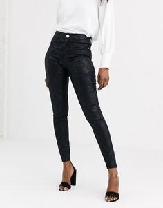 Черные зауженные джинсы со змеиным принтом Lipsy-Черный