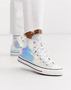 Высокие кеды с пайетками серебристого цвета Converse Chuck Taylor-Серебряный