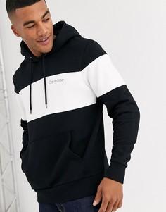 Черно-белый худи в стиле колор блок с логотипом Calvin Klein-Черный