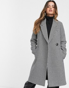 Пальто в гусиную лапку с поясом и добавлением шерсти Stradivarius-Мульти