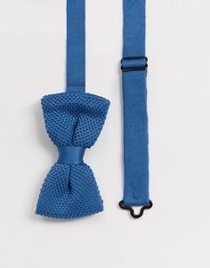 Синий вязаный галстук-бабочка Twisted Tailor