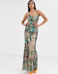 Платье макси с цветочной отделкой и юбкой годе Bariano-Розовый