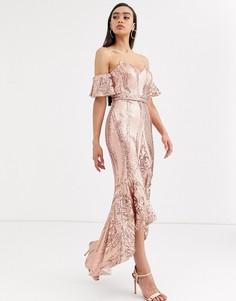 Платье миди цвета розового золота с широким вырезом и пайетками Bariano-Розовый
