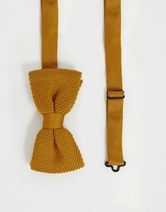 Трикотажный галстук-бабочка горчичного цвета Twisted Tailor-Желтый