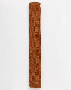 Бежевый трикотажный галстук Topman-Коричневый