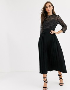 Черное платье макси с кружевом металлик и плиссированной юбкой Little Mistress-Черный