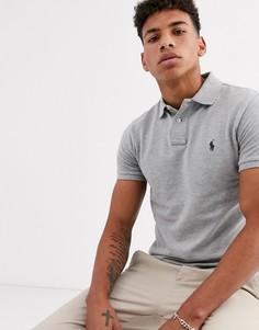 Серое узкое меланжевое поло из пике с логотипом Polo Ralph Lauren-Серый