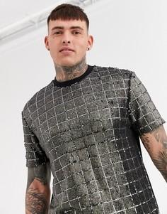 Свободная футболка с отделкой пайетками ASOS DESIGN-Серебряный