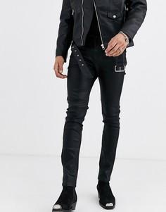 Черные зауженные джинсы из искусственной кожи с покрытием в ковбойском стиле ASOS EDITION-Черный