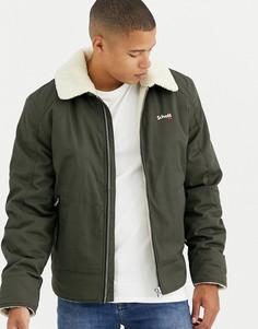 Зеленая хлопковая куртка пилот узкого кроя с подкладкой из искусственного меха Schott - Oakla-Зеленый
