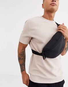 Черная сумка-кошелек на пояс с камуфляжным принтом Consigned-Черный