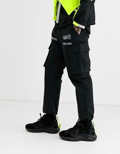 Джоггеры в стиле милитари со вставками и принтом Taka - Original-Черный