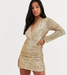 Золотистое платье мини с пайетками и глубоким вырезом John Zack Petite-Золотой