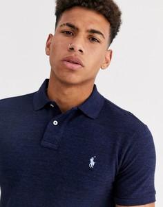 Темно-синее узкое меланжевое поло из пике с логотипом Polo Ralph Lauren-Темно-синий