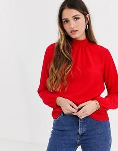 Ярко-красная блузка с присборенной отделкой New Look-Красный