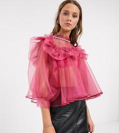 Oversize-блузка с декорированным воротником и рукавами из органзы Sister Jane-Розовый