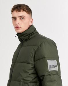 Дутая куртка цвета хаки со вставкой Mennace-Зеленый