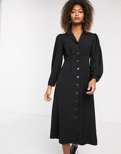 Чайное платье миди на пуговицах Selected Femme-Черный