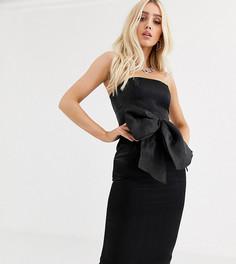Облегающее платье миди с крупным бантом из органзы UNIQUE21-Черный