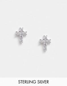 Серебряные серьги-гвоздики в форме креста DesignB-Серебряный