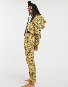 Спортивные брюки со звериным принтом и логотипом Les Girls Les Boys-Желтый