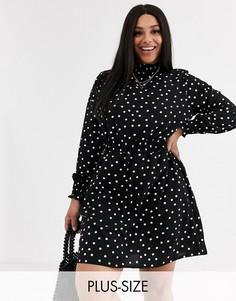 Платье в горошек New Look Curve-Черный