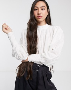 Белая блузка с пышными рукавами Selected Femme-Белый
