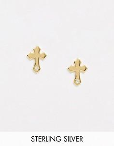 Серебряные позолоченные серьги-гвоздики с крестами DesignB-Золотой