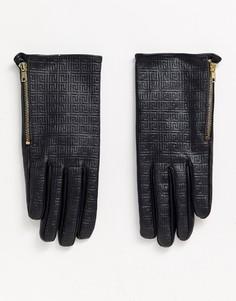 Кожаные перчатки для сенсорных гаджетов с монограммой ASOS DESIGN-Черный