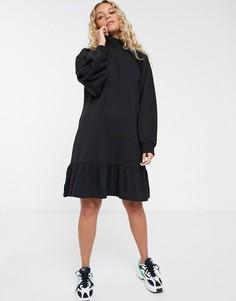Черное свободное трикотажное платье из органического хлопка Monki-Бежевый