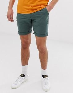 Зеленые льняные шорты Selected Homme-Зеленый