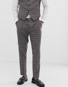 Коричневые укороченные брюки скинни в клетку Devils Advocate-Коричневый