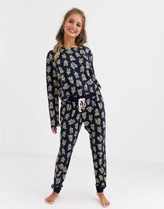 Пижама с принтом Chelsea Peers-Темно-синий