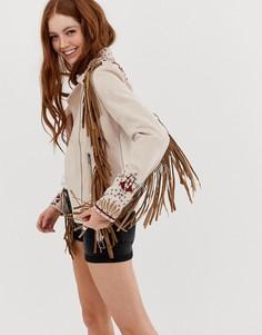 Куртка из искусственной замши с бахромой Glamorous-Кремовый