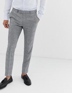 Узкие брюки в клетку Moss London-Серый