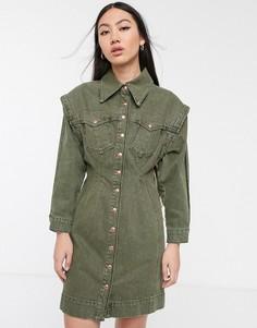 Джинсовое платье цвета хаки ASOS WHITE-Зеленый
